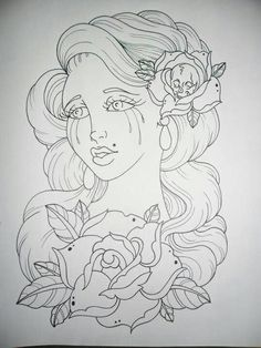 Weeping girl with roses sketch Colouring Pages, Adult Coloring Pages, Coloring Books, Mandala Coloring, Tattoo Sketch, Catrina Tattoo, Rose Tat, Girl Face Tattoo, Traditional Tattoo Old School