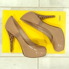 "Fendi Nude Pumps with Logo Heel! Pre-Owned Staple Fendi ""Decolette Vernice"" Pumps! Nude with logo heel. Size 36/US 6. Great with skirts, jeans, dresses- a staple! FENDI Shoes Heels"