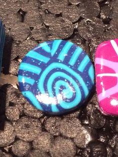 Bague en Fimo pâte polymère petite Ronde abstrait bleu 1,5 cm : Bague par ys-creations