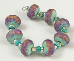 Mojave - etched matte, copper green, purple rose, opal yellow - Handmade Lampwork beads SRA by Judith Billig