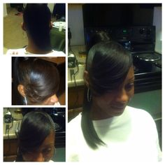 Weave ponytail with feathered bang