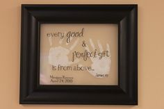 Good grandparent gift. Make your own by printing on a transparency and laying it over the handprints before framing.