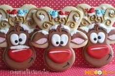 Christmas Sugar Cookies, Christmas Sweets, Noel Christmas, Holiday Cookies, Christmas Baking, Reindeer Christmas, Christmas Cakes, Cookies Cupcake, Iced Cookies
