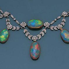 A belle époque opal and diamond necklace, circa 1900