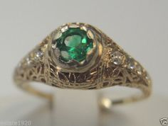 Antique Colombian Emerald Diamond Engagement Ring 14ky Art Deco Wedding Bridal