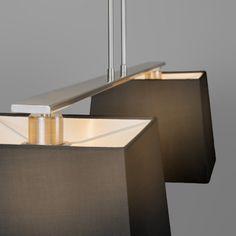 Lampa wisząca Combi Delux 2 klosz kwadratowy 30cm czarny