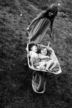 Family. Children. Siblings. Dream. Summer. Memories. Play. Life. Friendship. Wonderful. Grass. Black & White. Happy. Playful. Art. Laughter. Beauty.