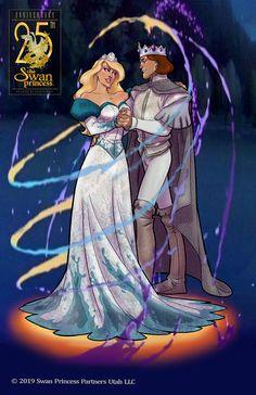 an signed print of Derek and Odette from the Swan Princess designed for the anniversary Odette Swan Princess, Princess Anastasia, Princess Art, Disney Love, Disney Magic, Disney Art, Disney And Dreamworks, Disney Pixar, Walt Disney