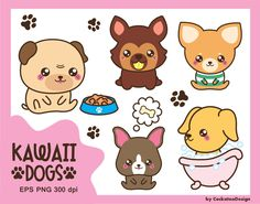 50% OFF SALE, Kawaii dog clipart, cute dog clipart, dog breeds clipart, puppy clipart, pug clipart, boston terrier clipart, Commercial use by CockatooDesign on Etsy