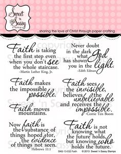 Sweet & Sassy Stamps - Faith Clear Stamp Set $11.00