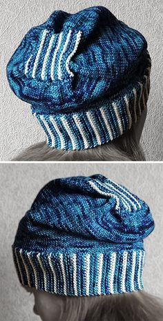 Free Knitting Pattern for Knit-Only Slouch Hat - Stylish hat with an interesting crown construction worked only in knit stitch. Sport yarn. Designed by Sybil R