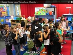Classroom behavior management song to teach children the use of inside and outside voices.