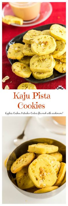 Eggless Kaju Pista Cookies are popular tea-time cookies from India! Find the recipe on www.cookwithmanali.com