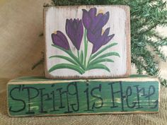 Primitive Crocus Flowers Spring is Here Easter 2 pc Shelf Sitter Wood Block Set #PrimtiiveCountry