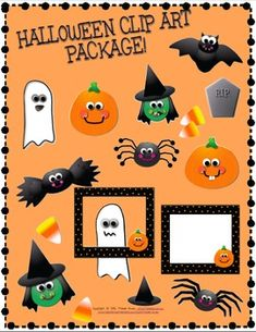 Halloween Themed Clip Art for Commercial Use: pumpkins, ghosts, bats, witches, spiders, candy corn, tombstone, and a cute black with orange polka dots and pumpkin frame. $