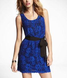 $79.90 ELASTIC WAIST LACE TANK DRESS at Express - different or no belt