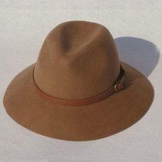 Brown Wool Contrast Belted Fedora