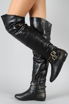85985868c74 Bamboo Sunkiss-02 Studded Buckle Thigh High Boot