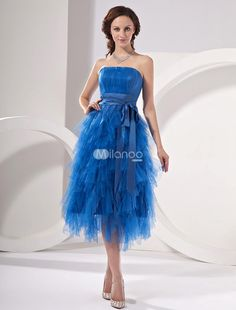 Sky Blue Satin Strapless Multi-Layered Homecoming Dress. See More Strapless at http://www.ourgreatshop.com/Strapless-C977.aspx