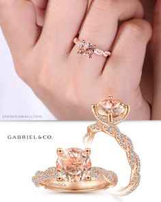 Glittering pavé diamonds are embedded along two intertwining strands of feminine rose gold, forming the shank of this graceful engagement ring. The round cut morganite center stone is secured in a four prong setting above a pavé diamond basket. Three Stone Engagement Rings, Perfect Engagement Ring, Beautiful Engagement Rings, Vintage Engagement Rings, Diamond Engagement Rings, Rose Gold Jewelry, Fine Jewelry, Unique Diamond Rings, Matching Wedding Bands