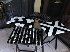 Classy and beautiful DIY Before & After: TV Tray Tables for your home! Dine in style! Via Zania.net