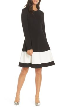 85aa40d3749 Eliza J Colorblock Stripe Fit  amp  Flare Dress available at  Nordstrom  Dress For Petite