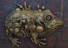 "Купить стимпанк - ""Жаба"". Стимпанк, steampunk, стимпанк панно, стимпанк картина, stempunk panno,  steampunk picture, toad, froganimal, mechanical.  Цена: 15 000 руб."