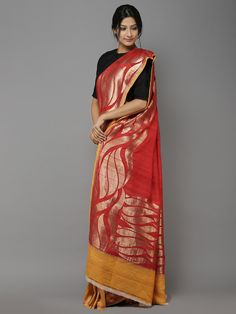 Description: This hand-woven banarasi saree is woven by local artisans of Banaras. It might have slight irregularities because of hand weaving. It comes with a