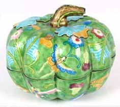 Chinese Cloisonne Pumpkin Squash Box with butterfly and floral decor and applied leaves.