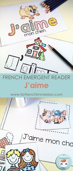 "French I love Emergent Reader: J'aime. Kids will be working with the focus sight word by writing, cutting and pasting, tracing, reading, and more! Includes many size options and a ""big classroom book"" in color and B&W. Fun and effective printable for the Learning French For Kids, French Language Learning, Ways Of Learning, Teaching French, Spanish Language, Learning Spanish, Learning Italian, German Language, Learning Games"
