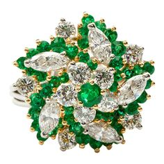 Emerald Diamond Pinwheel Bombé Ring