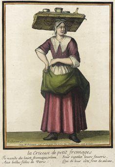 Recueil des modes de la cour de France, 'La crieuse de Petit Fromages' Jean Baptiste Bonnart (France, 1654-1726) Henri Bonnart (France, 1642-1711) France, Paris, 1675-1685