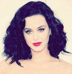 blue black hair color looks great on Katy