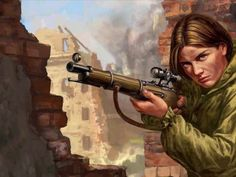 Illustration showing a Red Army sniper woman in action.