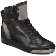Michael Michael Kors Pia High-Top Leather Sneakers ($195) ❤ liked on Polyvore featuring shoes, sneakers, black, black sneakers, black high top shoes, michael michael kors shoes, black hi top sneakers and michael kors sneakers