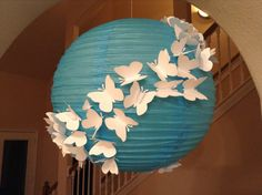 """Cute idea for Girls Nursery - Themed Teal & Pink with black crib 14"""" Blue Skies, paper lantern, butterfly birthday party, butterfly decor, butterfly lantern, hanging ceiling decor, butterfly hanging"""