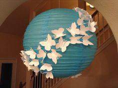 "14"" Blue Skies, paper lantern, butterfly birthday party, butterfly decor, butterfly lantern, hanging ceiling decor, butterfly hanging"