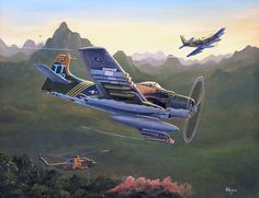 """Loitering With Intent: As the sun goes down in Laos during the Vietnam war a Combat Search And Rescue mission is underway. A pair of Skyraiders provide cover while the Jolly Green Giant extracts the downed pilot"", Kevin Scott Weber Air Vietnam, Vietnam War, Air Fighter, Fighter Jets, First Indochina War, War Jet, Airplane Art, Ww2 Planes, Thing 1"