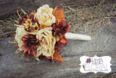 Fall Silk floral Bridal  Bouquet, 4 Bridemaids, 5 Groomsmen and Groom Boutineer. (Michelle's Order)