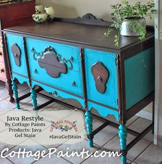 Loving this contrasting buffet by Sublime D'Signe, http://sublimedsigne.com/ (formerly Cottage Paints)  It was stained with General Finishes Java Gel Stain.  Get gel stain tips from the GF experts in this video, http://bit.ly/1kYVp8f