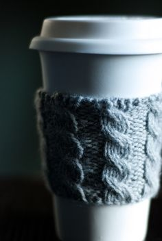 Cable Knit Coffee Cozy - Heather Gray - make me or buy me - those are your options