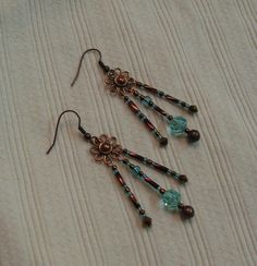 SALE  REDUCED  Copper & Aquamarine by SnowflakeEclecticArt on Etsy, $16.00