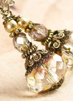 Vintage brass champagne bead earrings