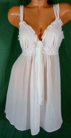 Linea Donatella Large Sheer Lace Babydoll Chemise Pale Pink Chiffon Nightgown  #LineaDonatella #BabydollChemise #Everyday