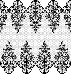 Seamless black lace borders vectors Free vector in