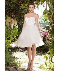 Kurz Liebsten Organza Knielange Billige Kurz Brautkleider