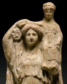 Demeter standing with Persephone sitting on her left, and wearing a chiton and himation -at the Sotheby's coll, London Daughter Of Zeus, Greek And Roman Mythology, Mother Goddess, Small Sculptures, Persephone, Divine Feminine, Ancient Greek, Archaeology, Statue