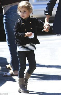 Warren-ting attention: Honor looked cute in her buttoned up jacket, leggings and boots #kids style