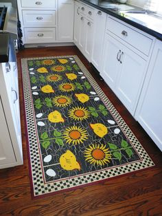 Gallery of hand painted floor mats in many styles and sizes to fit different personal decor styles. Painted Floor Cloths, Painted Wood Floors, Painted Rug, Hand Painted Furniture, Porch Flooring, Vinyl Flooring, Kitchen Flooring, Flooring Ideas, Drop Cloth Projects