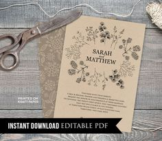 Printable Rustic Wedding Invitation, Kraft Botanical Wreath Invite, RSVP, Details, DIY, Instant Download, Editable PDF Template #018A
